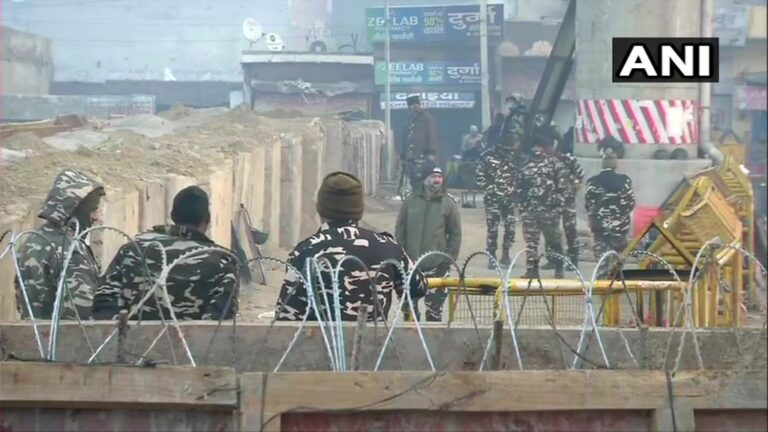 A Large Number Of Security Forces Deployed Along Delhi-Rajasthan Border Today To The Countrywide Chakka Jam Of Agitating Farmers