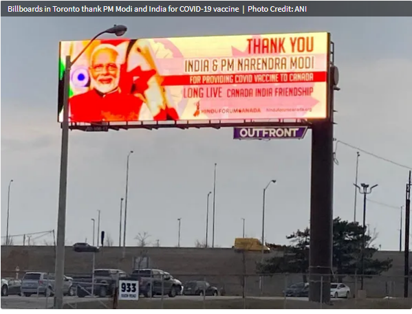 Billboards In Toronto Thanks PM Modi And India For COVID-19 Vaccine