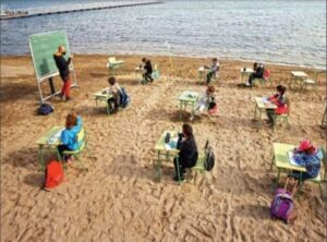 Classes For Children From 3 To 12 Years Are Being Held On The Beach