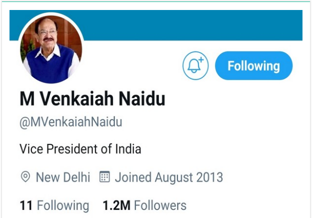 Twitter Removed Blue Tick Badge From Vice President Venkaiah Naidu Personal Handle!