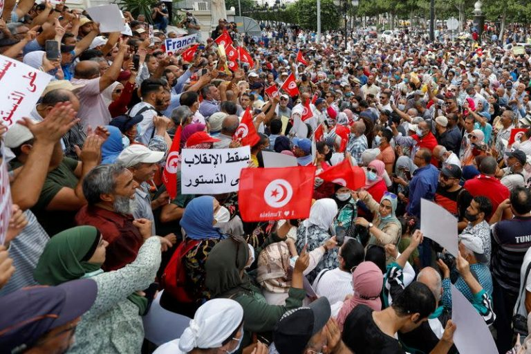 Tunisians stage protest over President Saied's seizure of powers